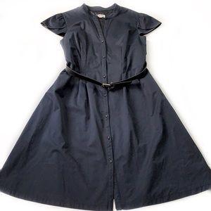 Merona • Belted Satin Midi Dress